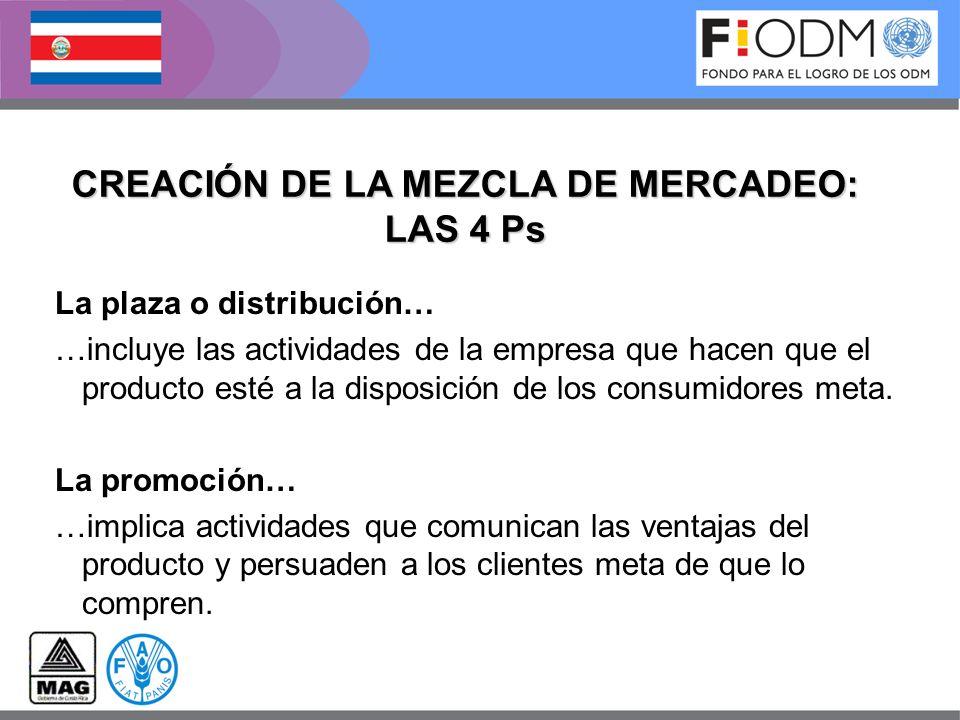 La plaza o distribución… …incluye las actividades de la empresa que hacen que el producto esté a la disposición de los consumidores meta. La promoción
