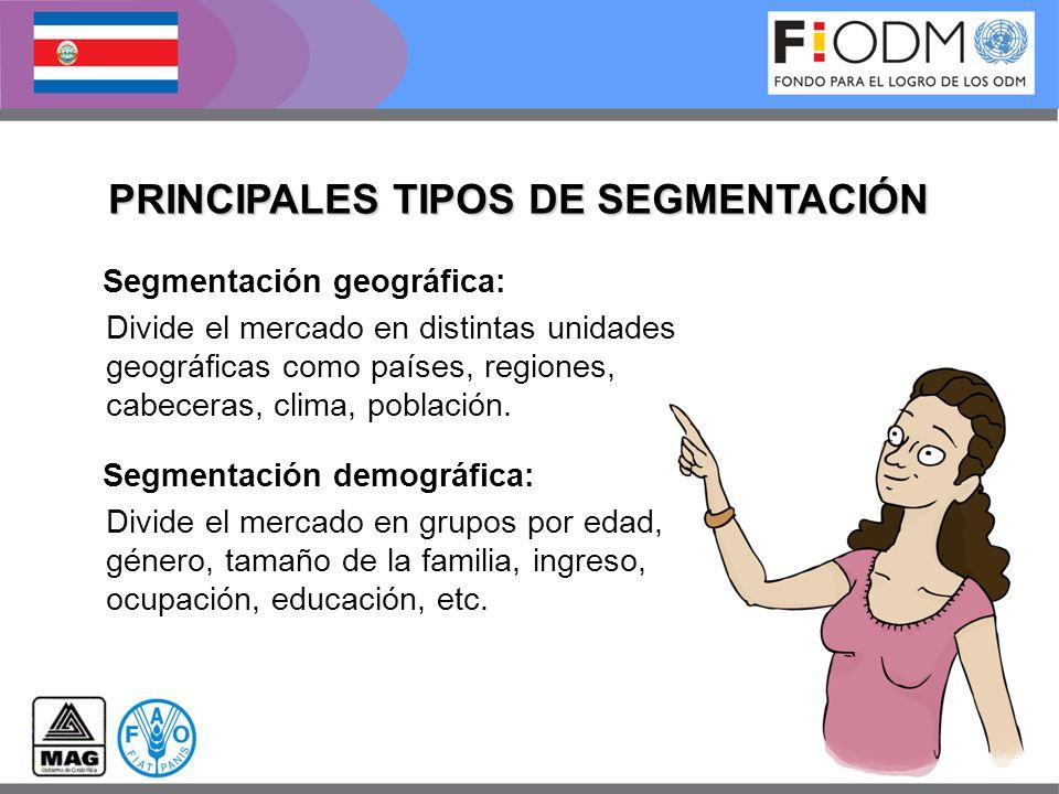 Segmentación geográfica: Divide el mercado en distintas unidades geográficas como países, regiones, cabeceras, clima, población. Segmentación demográf