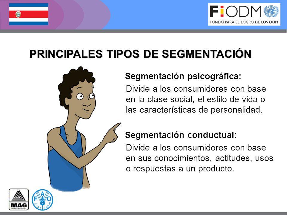 Segmentación psicográfica: Divide a los consumidores con base en la clase social, el estilo de vida o las características de personalidad. Segmentació