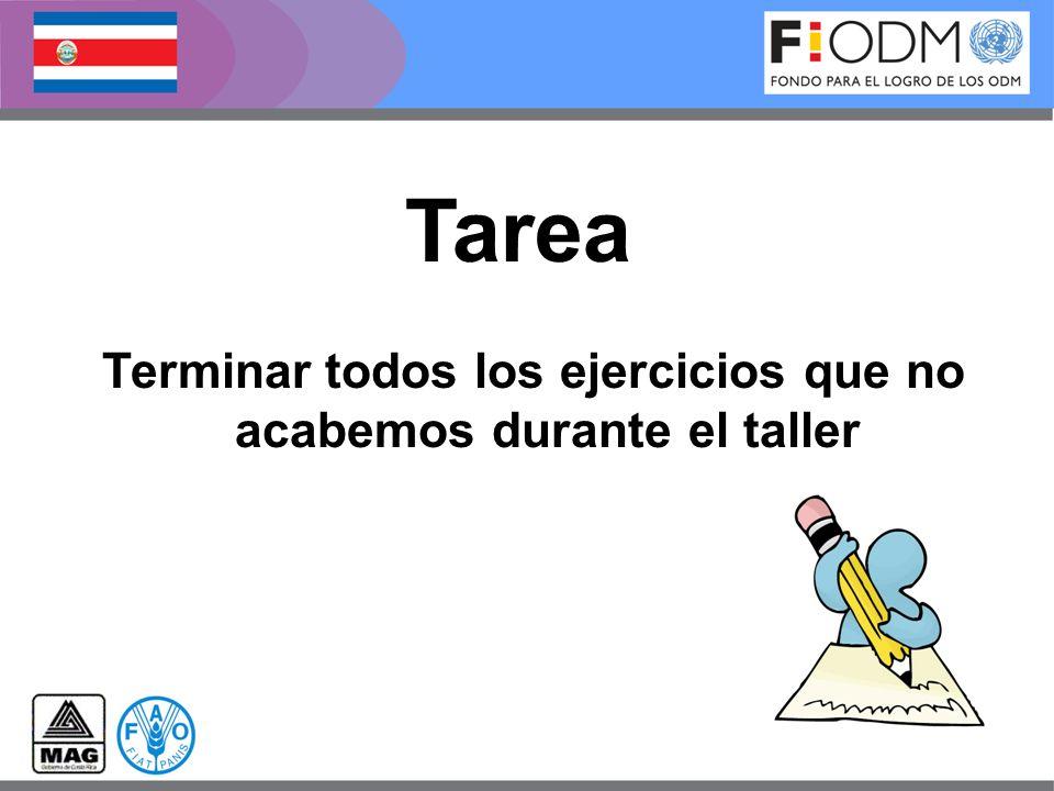 Terminar todos los ejercicios que no acabemos durante el taller Tarea
