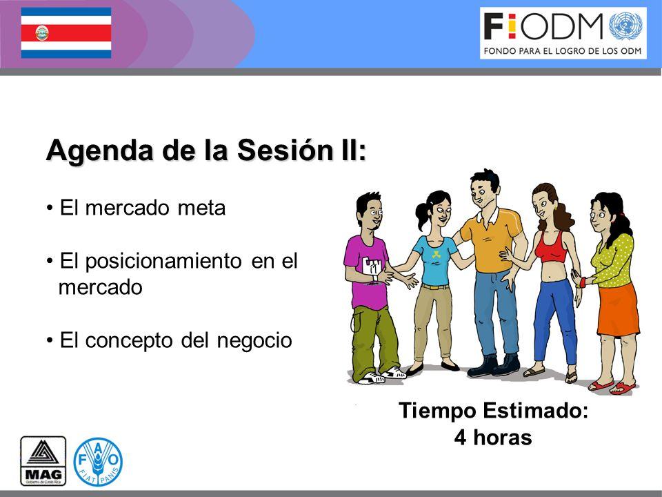 Agenda de la Sesión II: Tiempo Estimado: 4 horas El mercado meta El posicionamiento en el mercado El concepto del negocio