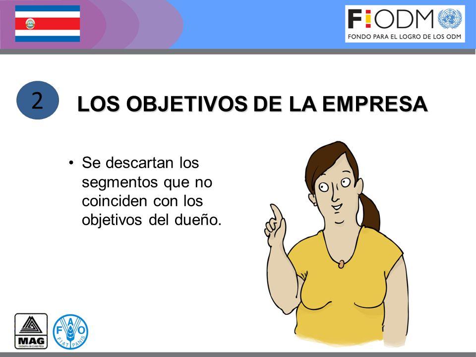 LOS OBJETIVOS DE LA EMPRESA Se descartan los segmentos que no coinciden con los objetivos del dueño. 2
