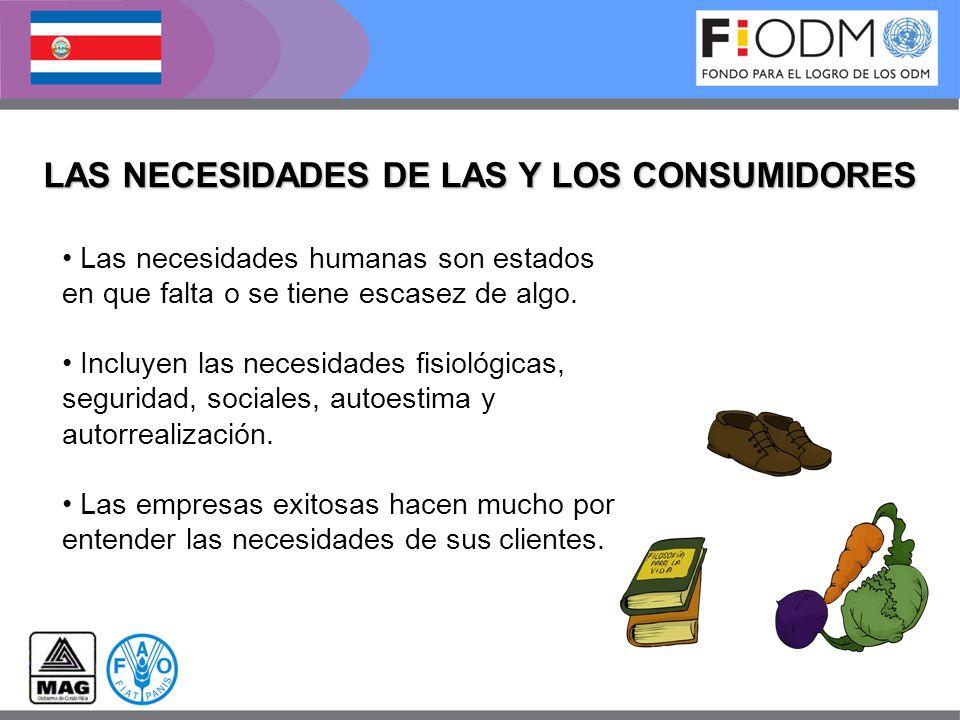 LAS NECESIDADES DE LAS Y LOS CONSUMIDORES Las necesidades humanas son estados en que falta o se tiene escasez de algo. Incluyen las necesidades fisiol