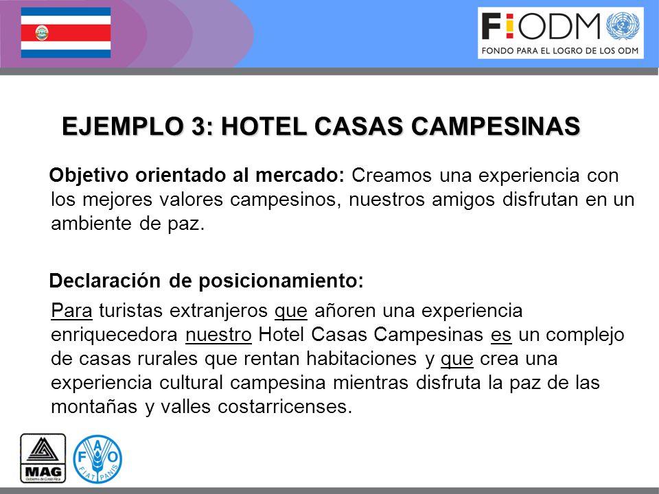 EJEMPLO 3: HOTEL CASAS CAMPESINAS Objetivo orientado al mercado: Creamos una experiencia con los mejores valores campesinos, nuestros amigos disfrutan