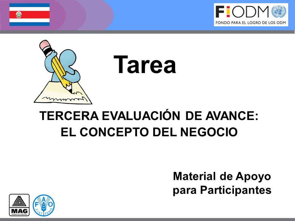 TERCERA EVALUACIÓN DE AVANCE: EL CONCEPTO DEL NEGOCIO Tarea Material de Apoyo para Participantes