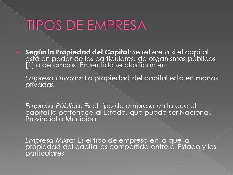 Según la Propiedad del Capital : Se refiere a si el capital está en poder de los particulares, de organismos públicos [1] o de ambos. En sentido se cl