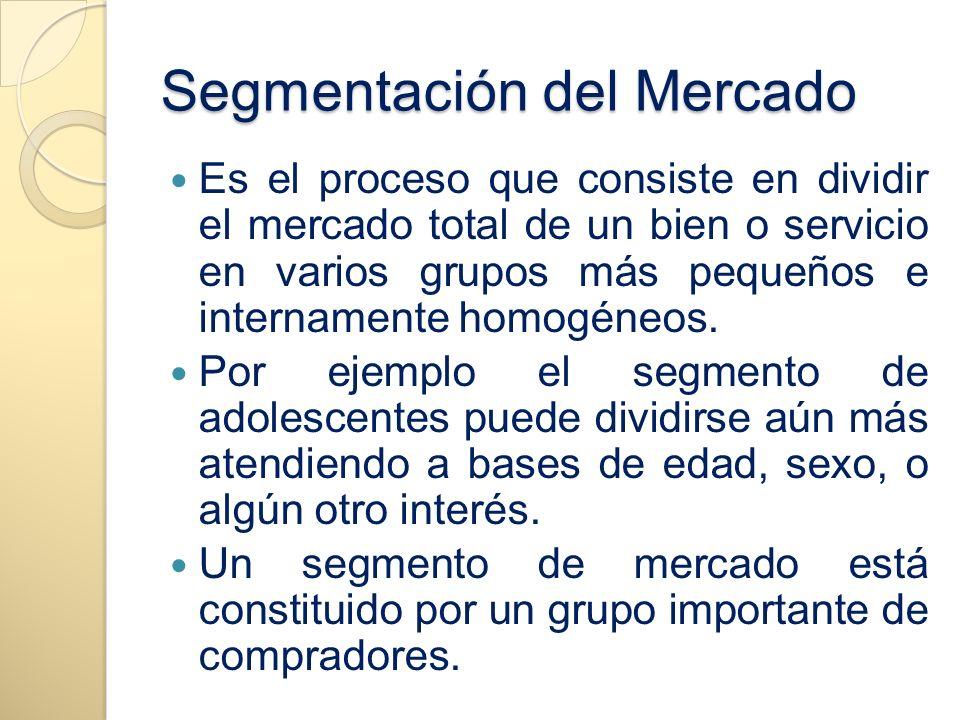 Segmentación del Mercado Es el proceso que consiste en dividir el mercado total de un bien o servicio en varios grupos más pequeños e internamente hom