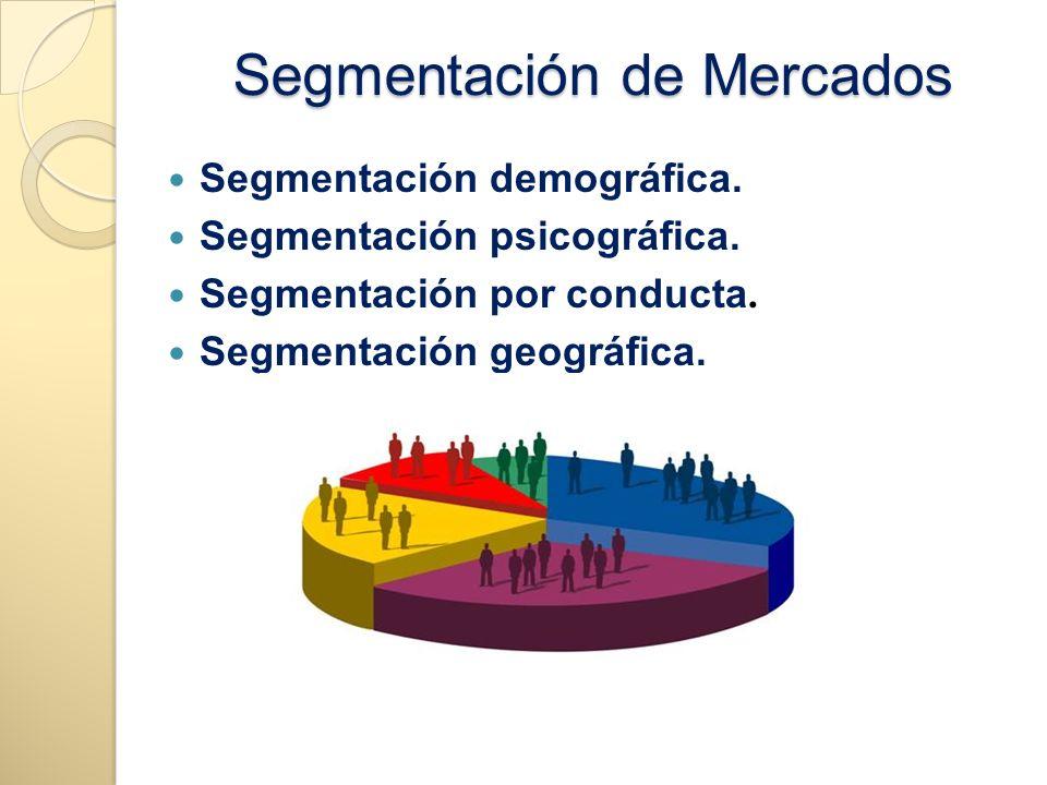 Segmentación de Mercados Segmentación demográfica. Segmentación psicográfica. Segmentación por conducta. Segmentación geográfica.