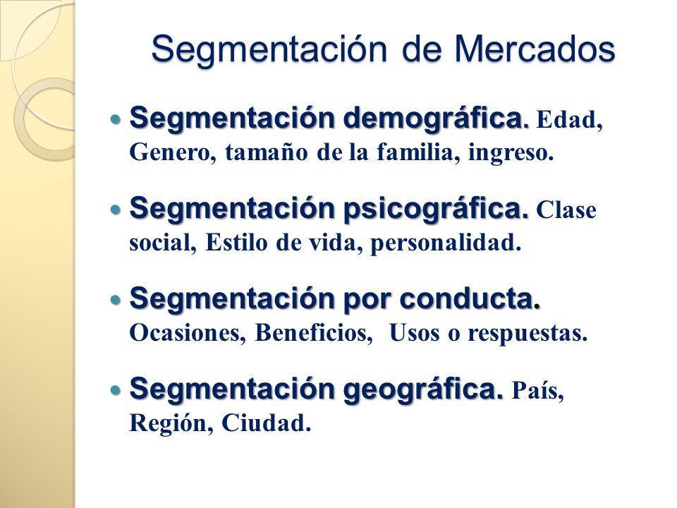 Segmentación de Mercados Segmentación demográfica. Segmentación demográfica. Edad, Genero, tamaño de la familia, ingreso. Segmentación psicográfica. S