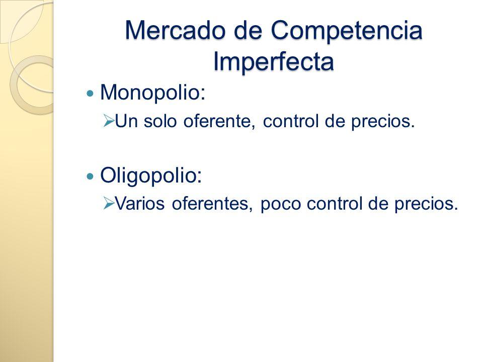 Mercado de Competencia Imperfecta Monopolio: Un solo oferente, control de precios. Oligopolio: Varios oferentes, poco control de precios.