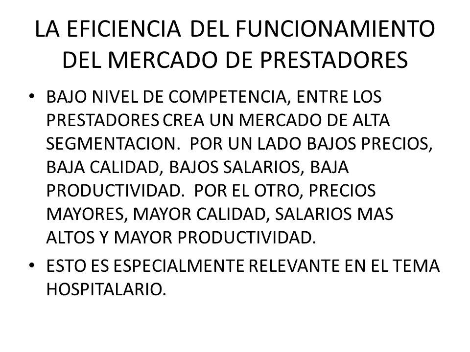 LA EFICIENCIA DEL FUNCIONAMIENTO DEL MERCADO DE PRESTADORES BAJO NIVEL DE COMPETENCIA, ENTRE LOS PRESTADORES CREA UN MERCADO DE ALTA SEGMENTACION.