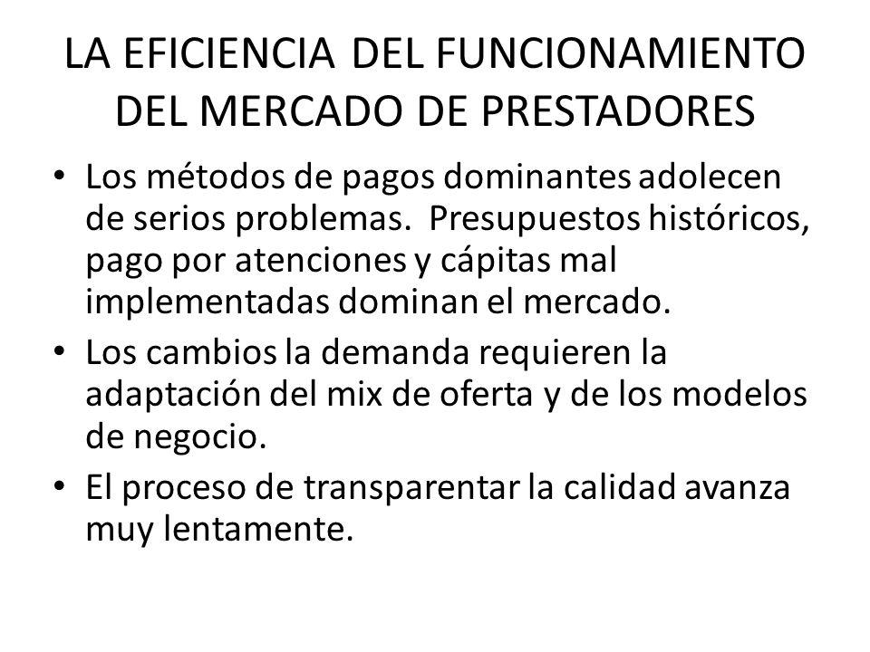 LA EFICIENCIA DEL FUNCIONAMIENTO DEL MERCADO DE PRESTADORES Los métodos de pagos dominantes adolecen de serios problemas. Presupuestos históricos, pag