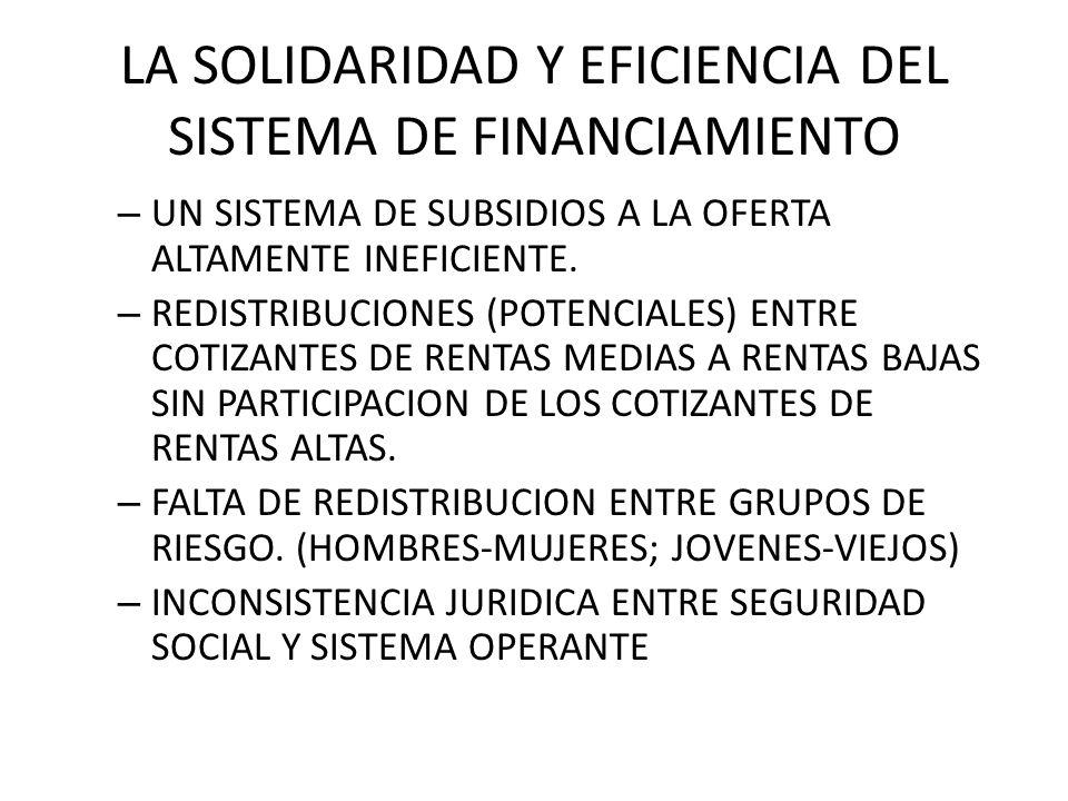 LA SOLIDARIDAD Y EFICIENCIA DEL SISTEMA DE FINANCIAMIENTO – UN SISTEMA DE SUBSIDIOS A LA OFERTA ALTAMENTE INEFICIENTE. – REDISTRIBUCIONES (POTENCIALES