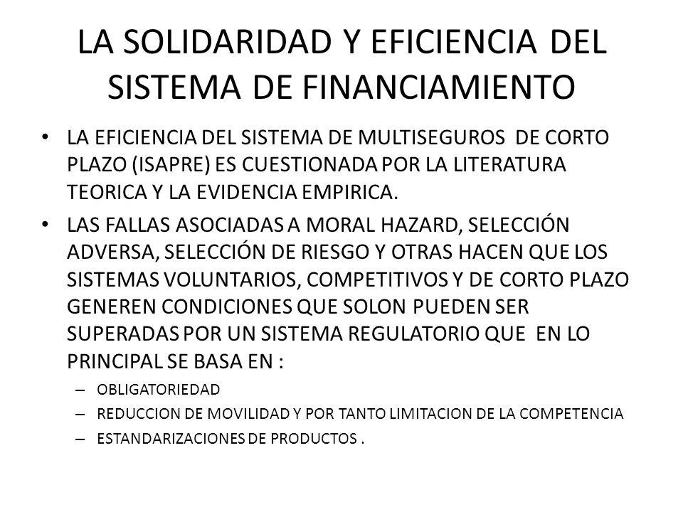 LA SOLIDARIDAD Y EFICIENCIA DEL SISTEMA DE FINANCIAMIENTO LA EFICIENCIA DEL SISTEMA DE MULTISEGUROS DE CORTO PLAZO (ISAPRE) ES CUESTIONADA POR LA LITERATURA TEORICA Y LA EVIDENCIA EMPIRICA.