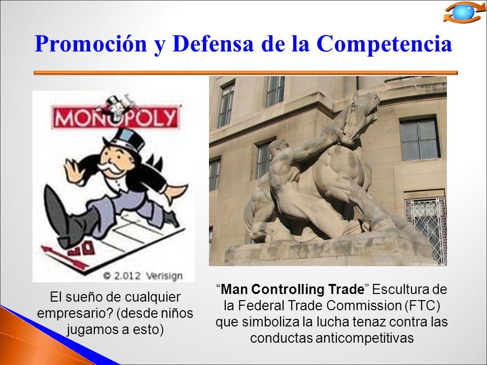Promoción y Defensa de la Competencia Man Controlling Trade Escultura de la Federal Trade Commission (FTC) que simboliza la lucha tenaz contra las conductas anticompetitivas El sueño de cualquier empresario.