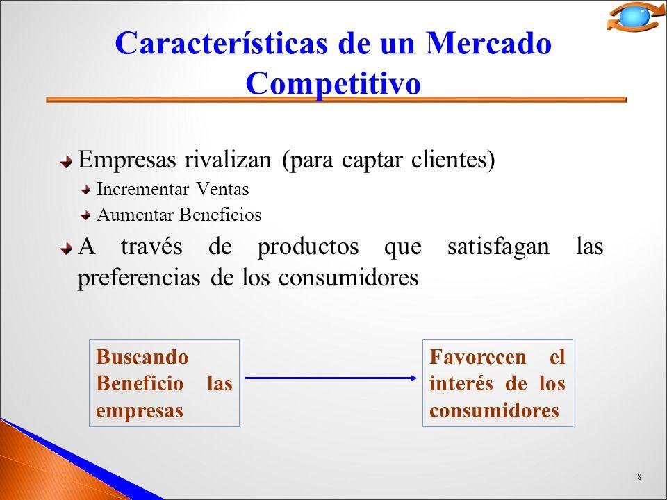 8 Características de un Mercado Competitivo Empresas rivalizan (para captar clientes) Incrementar Ventas Aumentar Beneficios A través de productos que satisfagan las preferencias de los consumidores Buscando Beneficio las empresas Favorecen el interés de los consumidores