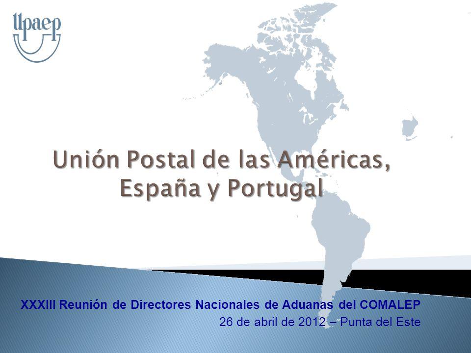 Fortalecer la integración regional del sector postal, el servicio de calidad a todas las personas, la reforma y modernización del sector a través de la cooperación propiciando un desarrollo sostenible 27 países: territorio postal único 40 millones Km2 954 millones Hab.