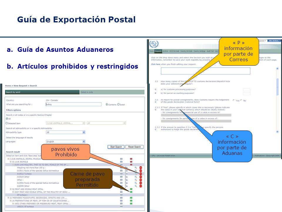« P » información por parte de Correos « C » información por parte de Aduanas Guía de Exportación Postal a.Guía de Asuntos Aduaneros b.Artículos prohi