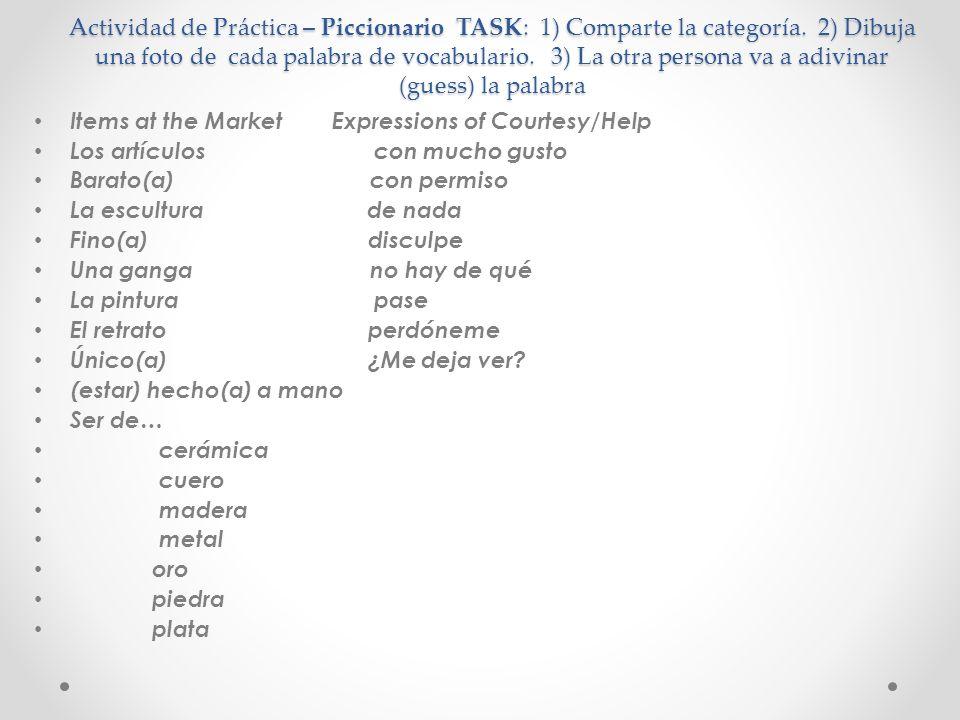 Actividad de Práctica – Piccionario TASK: 1) Comparte la categoría.