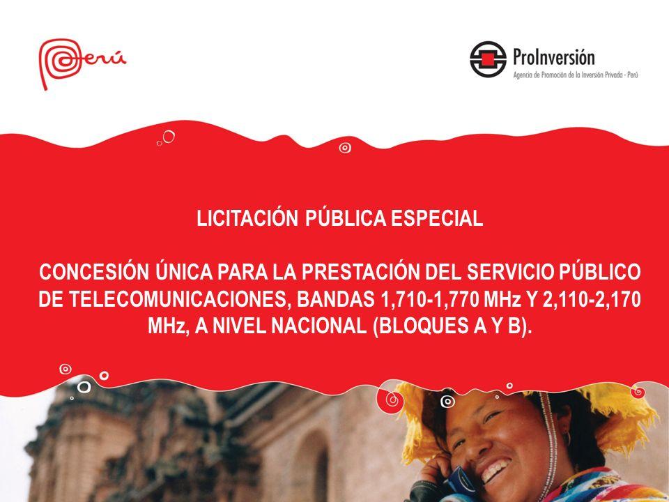 LICITACIÓN PÚBLICA ESPECIAL CONCESIÓN ÚNICA PARA LA PRESTACIÓN DEL SERVICIO PÚBLICO DE TELECOMUNICACIONES, BANDAS 1,710-1,770 MHz Y 2,110-2,170 MHz, A