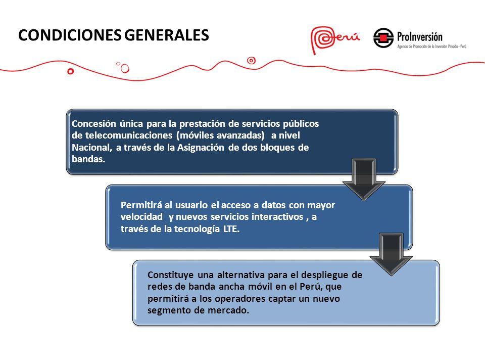 CONDICIONES GENERALES Concesión única para la prestación de servicios públicos de telecomunicaciones (móviles avanzadas) a nivel Nacional, a través de