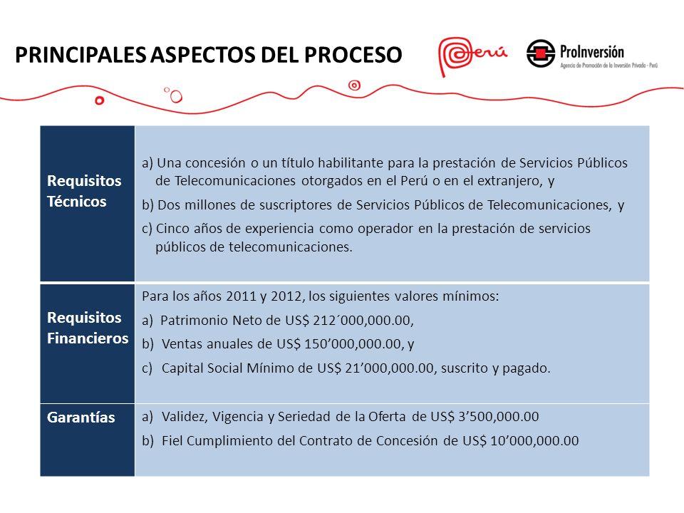 PRINCIPALES ASPECTOS DEL PROCESO Requisitos Técnicos a) Una concesión o un título habilitante para la prestación de Servicios Públicos de Telecomunica