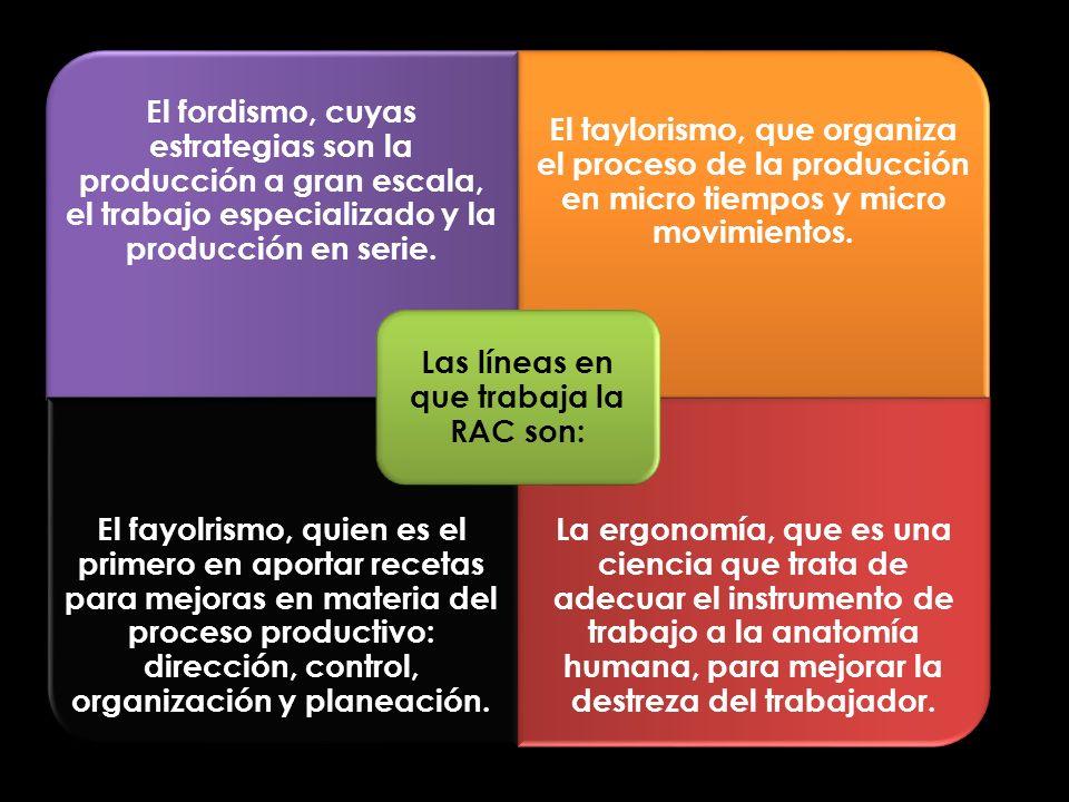 El fordismo, cuyas estrategias son la producción a gran escala, el trabajo especializado y la producción en serie. El taylorismo, que organiza el proc