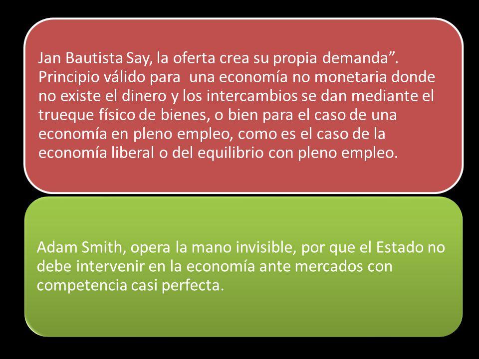 Jan Bautista Say, la oferta crea su propia demanda. Principio válido para una economía no monetaria donde no existe el dinero y los intercambios se da