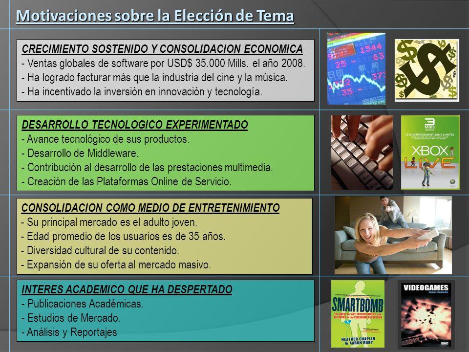 Objetivos del Trabajo Descripción de la Industria de los Videojuegos Descripción de la Industria de los Videojuegos Historia, Desarrollo y Consolidación Historia, Desarrollo y Consolidación Ventas Mundiales y del Mercado Chileno Ventas Mundiales y del Mercado Chileno Tendencias de Uso y Consumo del Mercado Chileno Tendencias de Uso y Consumo del Mercado Chileno