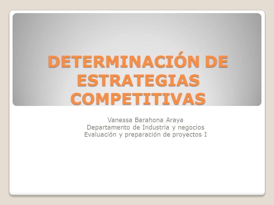 DETERMINACIÓN DE ESTRATEGIAS COMPETITIVAS Vanessa Barahona Araya Departamento de Industria y negocios Evaluación y preparación de proyectos I