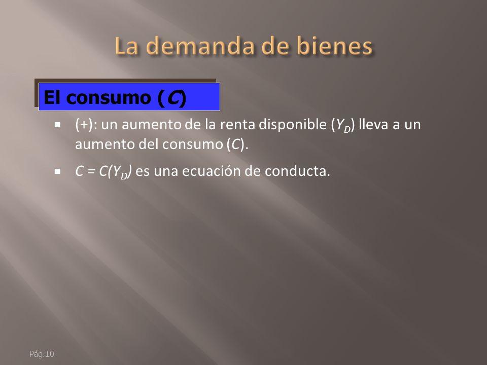 Pág.9 El principal determinante de C es la renta disponible (Y D ) La función de consumo C = C(Y D ) (+) El consumo (C)