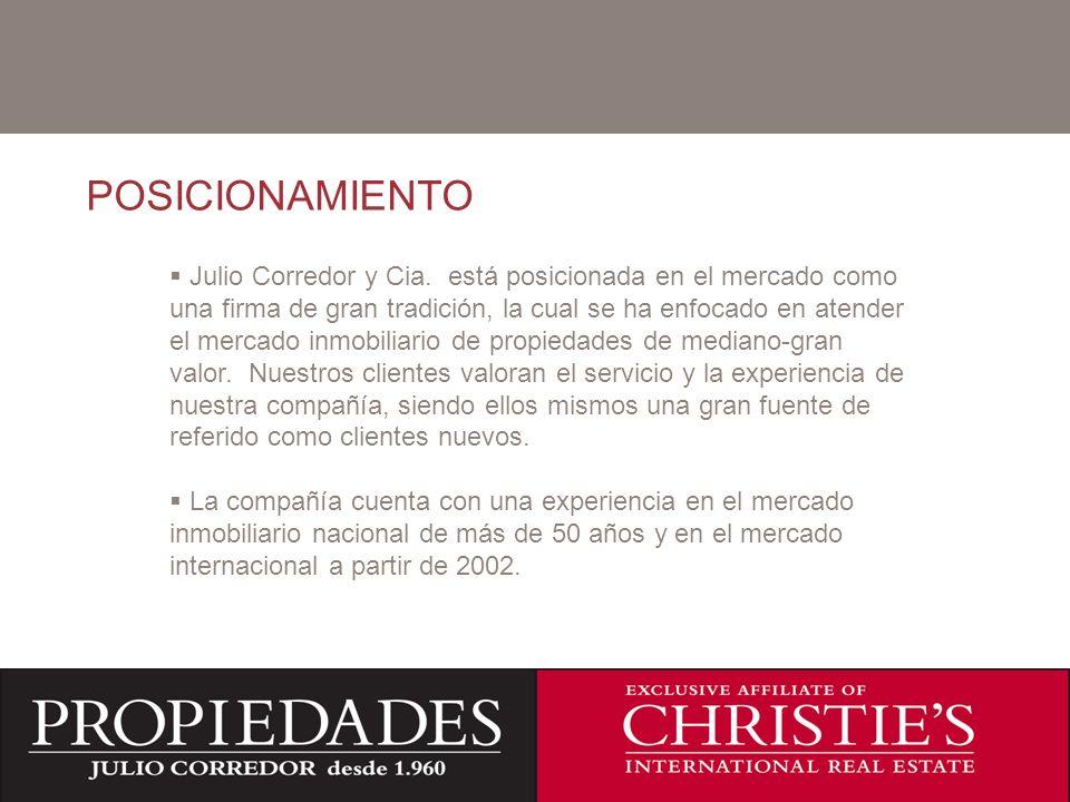 C POSICIONAMIENTO Julio Corredor y Cia. está posicionada en el mercado como una firma de gran tradición, la cual se ha enfocado en atender el mercado