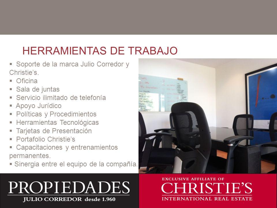 C HERRAMIENTAS DE TRABAJO Soporte de la marca Julio Corredor y Christies. Oficina Sala de juntas Servicio ilimitado de telefonía Apoyo Jurídico Políti