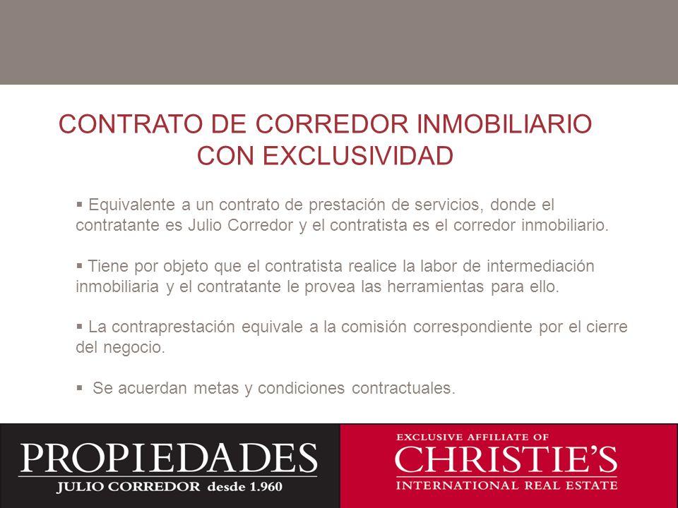 C CONTRATO DE CORREDOR INMOBILIARIO CON EXCLUSIVIDAD Equivalente a un contrato de prestación de servicios, donde el contratante es Julio Corredor y el contratista es el corredor inmobiliario.