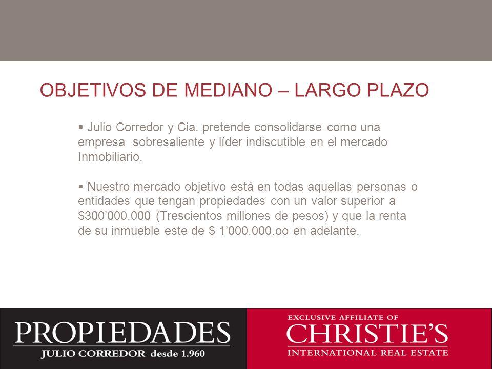 C OBJETIVOS DE MEDIANO – LARGO PLAZO Julio Corredor y Cia. pretende consolidarse como una empresa sobresaliente y líder indiscutible en el mercado Inm