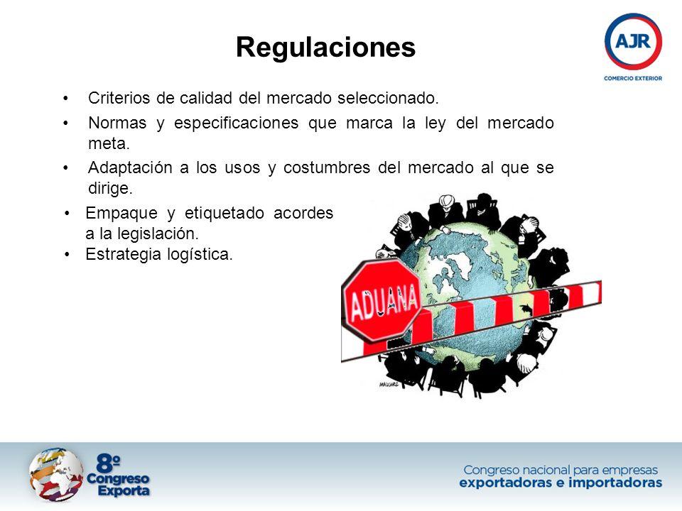 Regulaciones Criterios de calidad del mercado seleccionado. Normas y especificaciones que marca la ley del mercado meta. Adaptación a los usos y costu