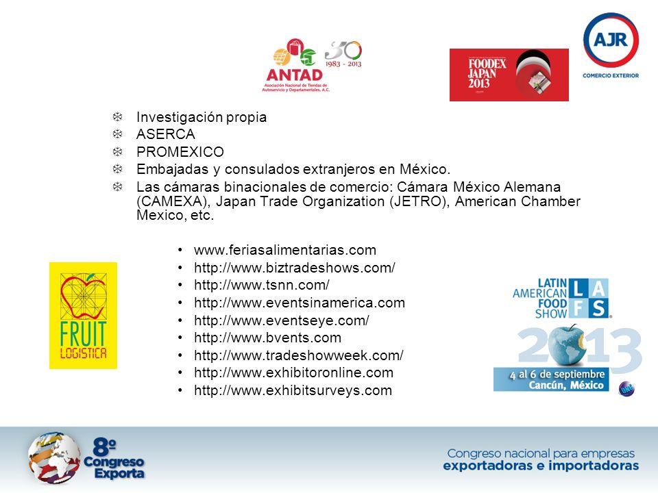 Investigación propia ASERCA PROMEXICO Embajadas y consulados extranjeros en México. Las cámaras binacionales de comercio: Cámara México Alemana (CAMEX