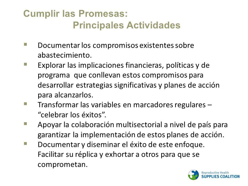 Documentar los compromisos existentes sobre abastecimiento. Explorar las implicaciones financieras, políticas y de programa que conllevan estos compro