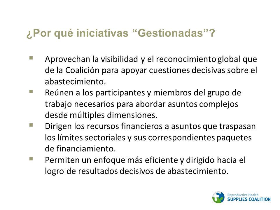 Aprovechan la visibilidad y el reconocimiento global que de la Coalición para apoyar cuestiones decisivas sobre el abastecimiento.