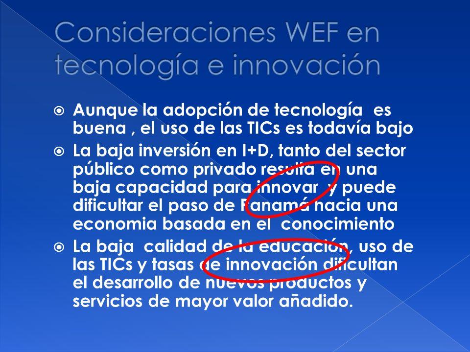 Aunque la adopción de tecnología es buena, el uso de las TICs es todavía bajo La baja inversión en I+D, tanto del sector público como privado resulta