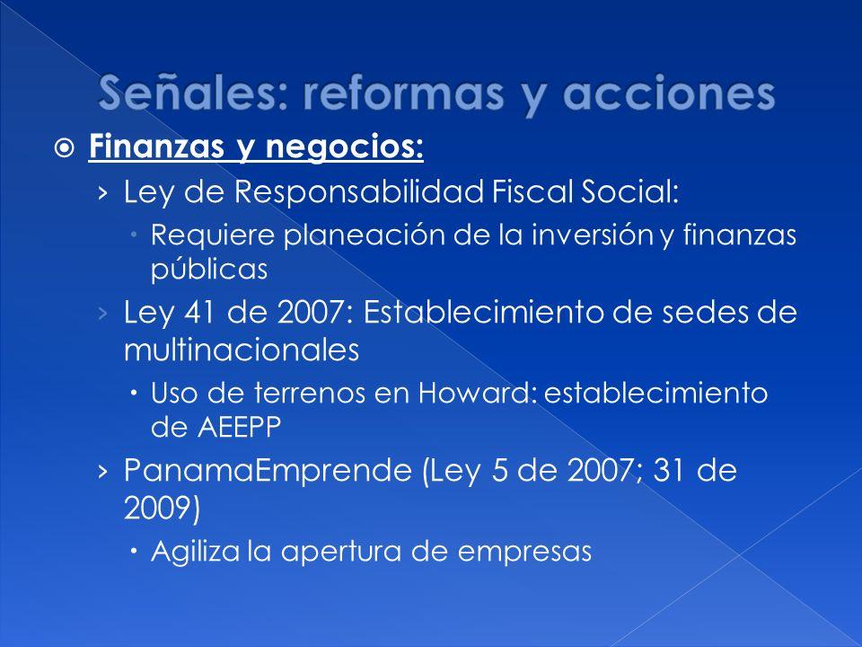 Finanzas y negocios: Ley de Responsabilidad Fiscal Social: Requiere planeación de la inversión y finanzas públicas Ley 41 de 2007: Establecimiento de sedes de multinacionales Uso de terrenos en Howard: establecimiento de AEEPP PanamaEmprende (Ley 5 de 2007; 31 de 2009) Agiliza la apertura de empresas