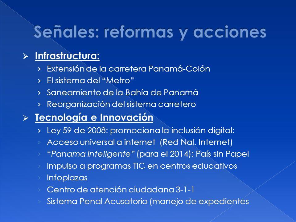 Infrastructura: Extensión de la carretera Panamá-Colón El sistema del Metro Saneamiento de la Bahía de Panamá Reorganización del sistema carretero Tecnología e Innovación Ley 59 de 2008: promociona la inclusión digital: Acceso universal a internet (Red Nal.