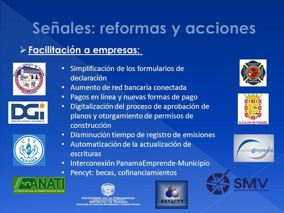 Simplificación de los formularios de declaración Aumento de red bancaria conectada Pagos en línea y nuevas formas de pago Digitalización del proceso d