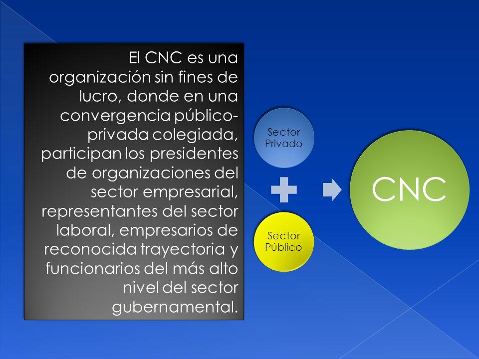 El CNC es una organización sin fines de lucro, donde en una convergencia público- privada colegiada, participan los presidentes de organizaciones del