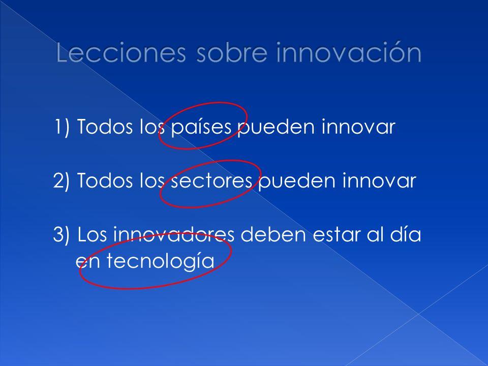 1) Todos los países pueden innovar 2) Todos los sectores pueden innovar 3) Los innovadores deben estar al día en tecnología