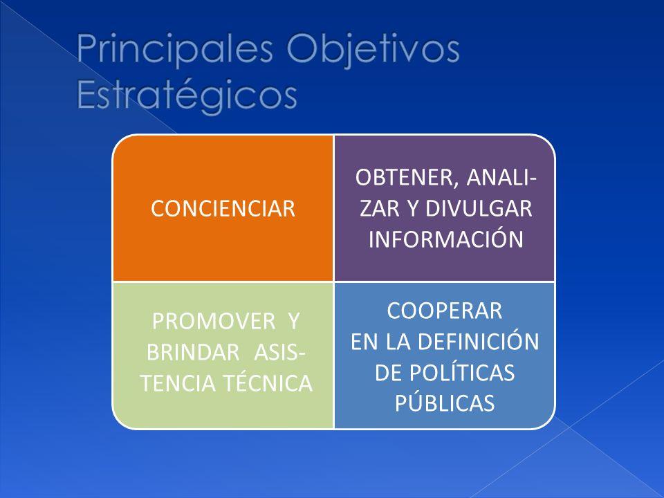 OBTENER, ANALI- ZAR Y DIVULGAR INFORMACIÓN CONCIENCIAR COOPERAR EN LA DEFINICIÓN DE POLÍTICAS PÚBLICAS PROMOVER Y BRINDAR ASIS- TENCIA TÉCNICA