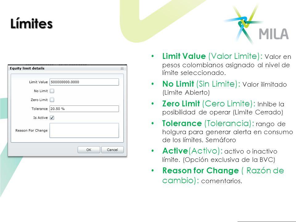 Limit Value (Valor Limite): Valor en pesos colombianos asignado al nivel de límite seleccionado. No Limit (Sin Limite): Valor ilimitado (Limite Abiert