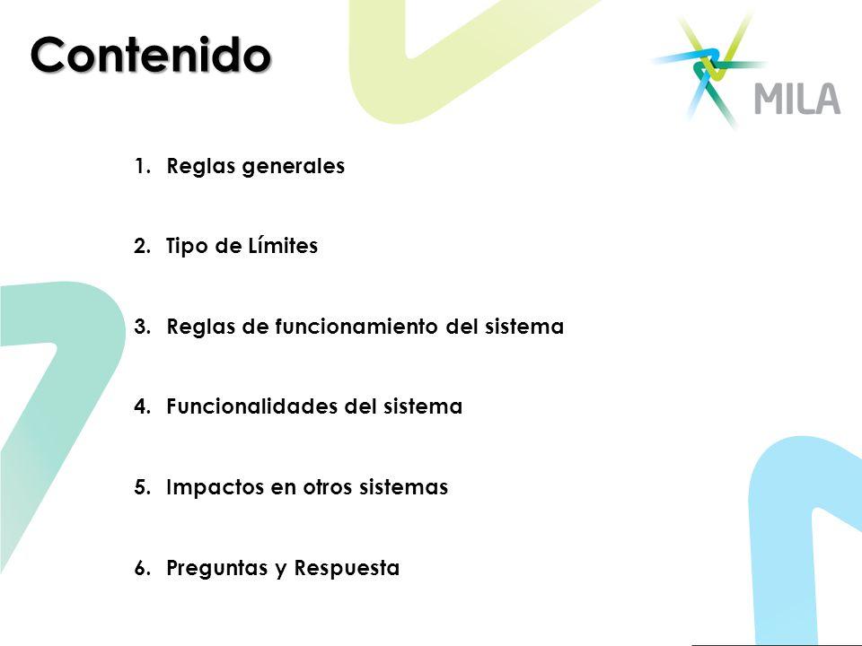 Contenido 1.Reglas generales 2.Tipo de Límites 3.Reglas de funcionamiento del sistema 4. Funcionalidades del sistema 5. Impactos en otros sistemas 6.P