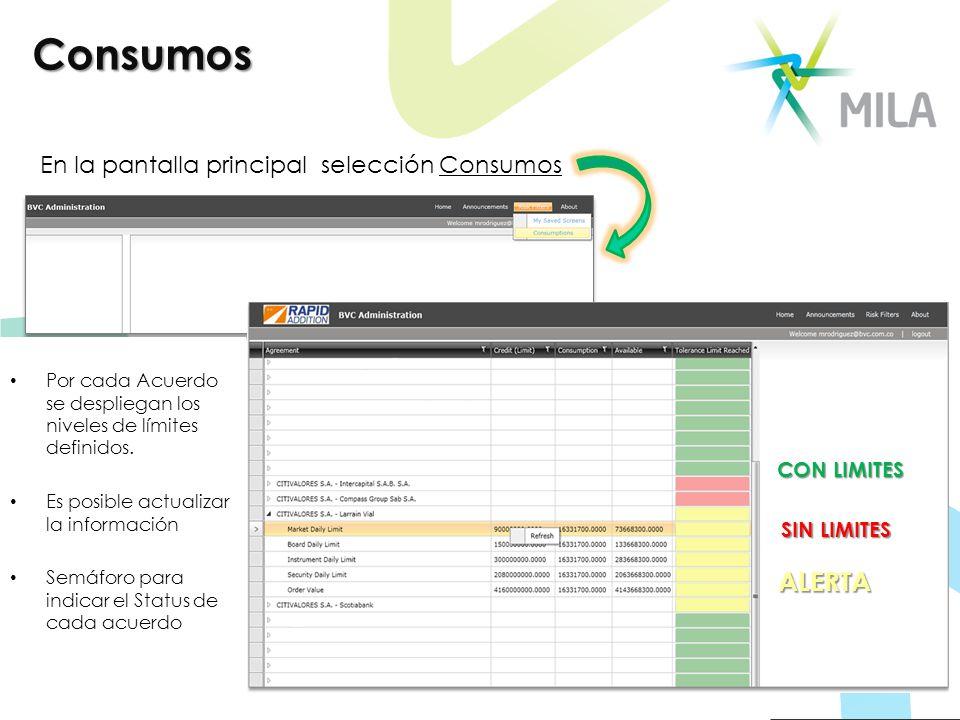 Consumos En la pantalla principal selección Consumos Por cada Acuerdo se despliegan los niveles de límites definidos. Es posible actualizar la informa