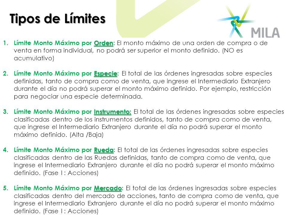 Opciones para configuración de Límites Sin Límites: Esta opción le permite a la Sociedad Comisionista determinar limites indefinidos sobre el Intermediario Extranjero.